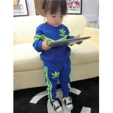 Спортивний костюм Adidas синій, зелені смужки